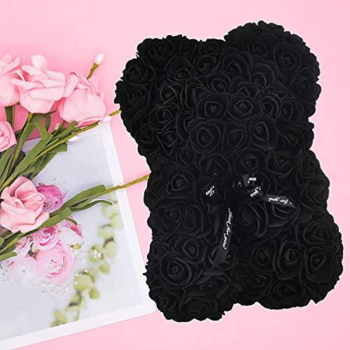 Rose Bear Rose Teddy Bear Mejor regalo para el día de San Valentín, aniversario, cumpleaños duchas nupciales completamente ensambladas con una caja de regalo de 10 pulgadas flor artificial TU BANG SHO