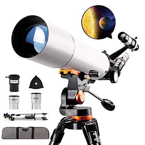 Telescopio monocular astronómico, telescopio espacial monocular de ciencia HD 150X, refractor de alcance refractivo profesional de 70/500 mm, con trípode + visor buscador + mochila de viaje, para ci