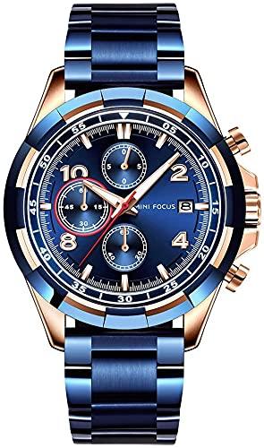 Reloj de Cuarzo Luminoso for Hombre, Hechos a Mano de Acero Inoxidable de Acero Inoxidable, dial de Vidrio, Puntero Impermeable Unisex, números Romanos, Reloj, Accesorios de joyería de cumpleaños