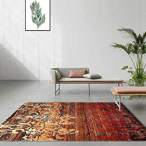 Design Moderne Tapis Salon Chambre Carpet Couture de Motif Abstrait Rouge et Jaune Accessoires pour la Maison Tapis d