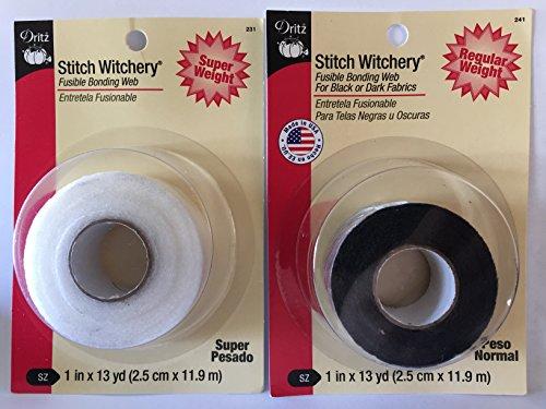 Bundle Stitch Witchery Hemming Tape 1' Super White & 1' Regular Black 13 yds Each fusible bonding Web