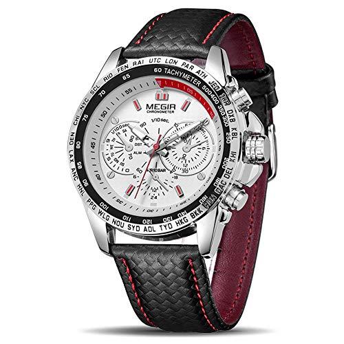 MEGIR Relógio masculino analógico luminoso, casual, de quartzo, com pulseira de poliuretano, mostrador grande, calendário para trabalho, escola ao ar livre, trabalho, casual, esportivo, negócios, carinha grande, 1010 branco