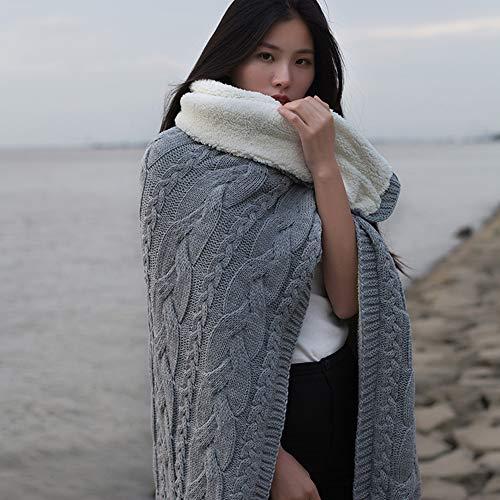 Manta de tartán gris, súper suave, cálida, ligera, acogedora, manta de microfibra superior peinada y gruesa de terciopelo, de color sólido, toalla de sofá, toalla de cordero, terciopelo de punto
