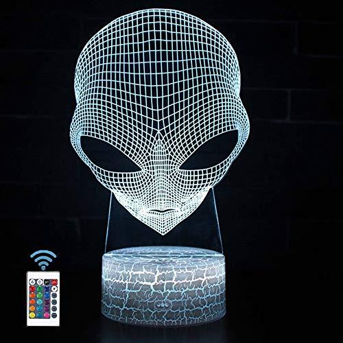 TourKing Ilusión óptica 3D Lam LED Lámpara de ilusión de luz Nocturna 7 Lámpara de decoración de Cambio de Color con Control Remoto niños (Alien)