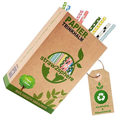 Straw2Sphere® Papierstrohhalme bunt | 160 Stück | 1 Baum für jeden Kauf | Bio Strohhalme Papier | Trinkhalme Papier für Kinder | Cocktail Strohhalm Pappe | Papiertrinkhalme Hochzeit