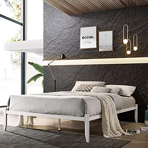 Strong Metal Bed Frame 4ft6 5ft Double King Size Solid Bedstead Base in White (King Bed)