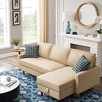 COODENKEY 84  Sleeper Sectional L Shape Corner Sofa Bed with Storage for Living Room & Apartment Beige