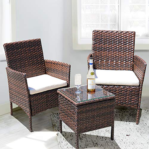 Outraveler 3 Piece Outdoor Rattan Patio Porch Furniture Conversation Sets Wicker Chairs with Coffee Table Garden Lawn Pool (Brown)