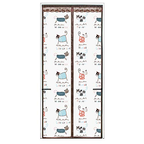 Patrón De Gato De Dibujos Animados Cortina Mosquitera Magnética 80x200cm / 31x78inches Mosquiteras Ventana Mantenga el aire fresco adentro y los insectos afuera - Adecuado Adecuado para puerta,Fácil