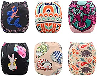 Babygoal Baby Cloth Diapers for Girls, Adjustable Reusable Pocket Nappy 6pcs+ 6 Inserts+4pcs Bamboo Inserts 6YDG02