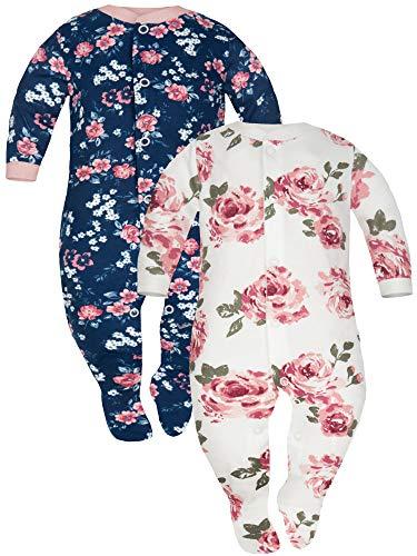 Sibinulo Jungen Mädchen Baby Schlafstrampler Kleinkind, 0-3 Monate 100% Baumwolle Babykleidung Set 2er Pack Kleine Rosen, Weiße Rosen 62