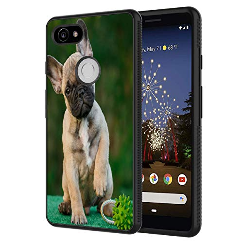 Google Pixel 2 Case,French Bull Dog Anti-Scratch Shockproof Black Silicone Rubber TPU Protective Case Cover for Google Pixel 2 (2017 Release)