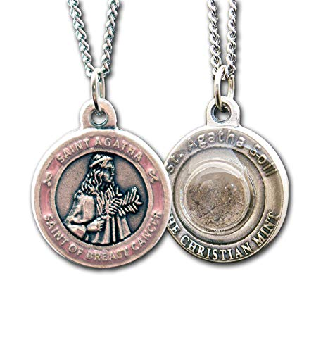 St Agatha Patron Saint of Breast Cancer Medal with Capsule of Catania Soil - Includes 18' Chain