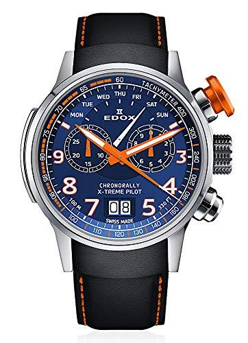 EDOX Herren-Armbanduhr Chronorally X-Treme Pilot Großdatum Wochentag Chronograph Analog Quarz 38001 Tino BUO3