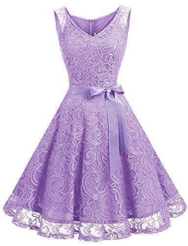 Dressystar 0010 Women Floral Lace Bridesmaid Party Dress Short Prom Dress V Neck Lavender XXL