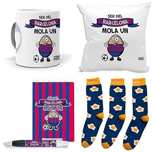 Mega Regalo Personalizado Divertido Futbol. Ser del Barcelona Mola un Huevo. Taza, cojin, libreta, boli y Trio de Calcetines