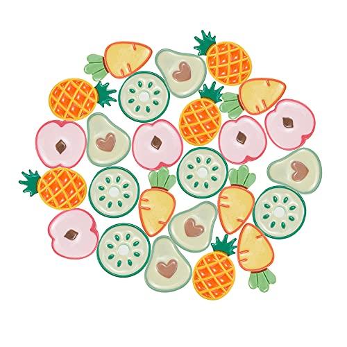 Stiesy 25 piezas de cabujones de resina de frutas de imitación de alimentos melocotón limón, piña, aguacate, zanahoria, encantos planos a granel para hacer joyas de bricolaje clip de pelo para niños