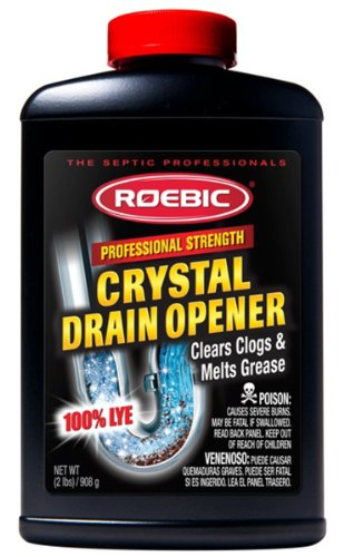 Roebic HD-CRY-DO Professional Strength Crystal Drain Opener, Heavy Duty Cleaner Clears Clogs and Melts Grease, 100% Lye, 2 Lbs, 2-lbs, White