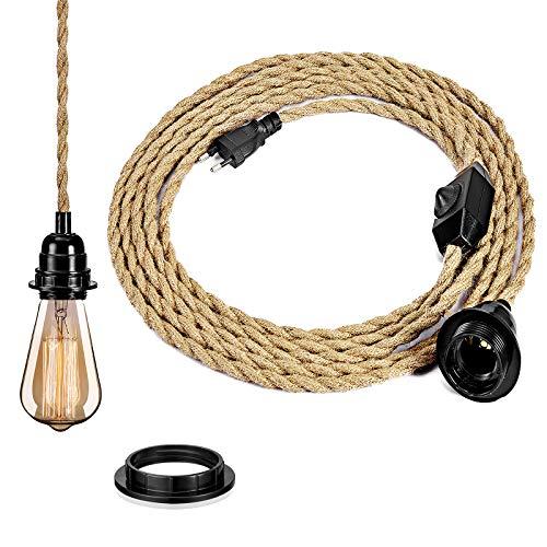 DIY moderno cable textil industrial lámpara de araña, kit con interruptor vintage lámpara cable con 4,5 m de largo cable E27 lámpara de techo en la cocina, sótano, lámpara de techo – sin bombilla