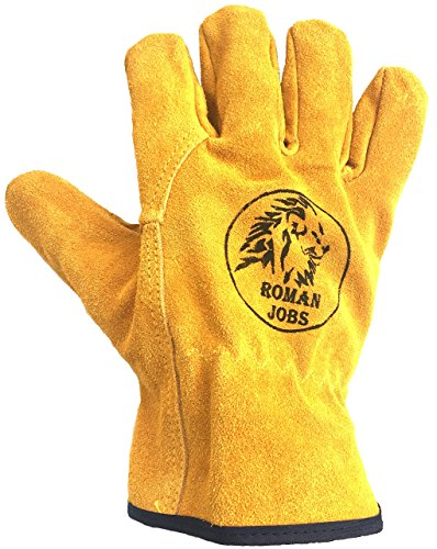 Leather Work Gloves Men & Women, Leather Working Gloves, Gardening, Wood Cutting, Mechanic, Driving, Welding, Heavy Duty Gloves to Protect Hands from Scratches, Injuries