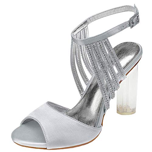 Zapatos gruesos para mujer de verano, con diamantes de imitación, sandalias de tacón medio, vestido de novia, color Plateado, talla 39 EU