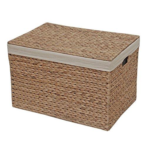 Aufbewahrungsbox aus Korbgeflecht, gefüttert, Truhe, Wasserhyazinthe, natur, Medium - L 46 x W 31 x H 29 cm