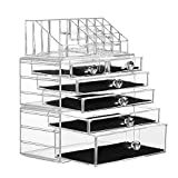 SANNO Organiser Acrylic Cosmetics Jewelry Storage Case X-Large Display Sets-Interlocking Scoop Drawers to Create Your Own Specially Designed Makeup Counter-Stackable and Interchangeable, Clear