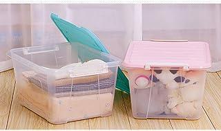 MU Bois Massif de boîte de Rangement portative de ménage, 2 Paquets Grande boîte en Plastique de ménage vêtements Livre Tr...
