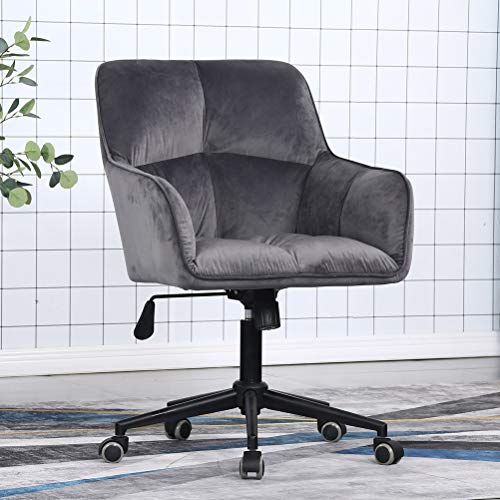 Modern Home Office Desk Chairs 360°Swivel,Comfort Velvet Upholstery Accent Chair for Desk on Rolling Wheels, Adjustable Swivel Ergonomic Computer Chair with Arms for Home Office(Padded Grey)
