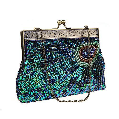 EVEOUT para Mujer de la Vendimia Embrague Verde Azulado Pavo Real con Cuentas de Lentejuelas Tarde Bolso Turquesa Ojo Captura diseñador Bolso para Damas Boda Nupcial