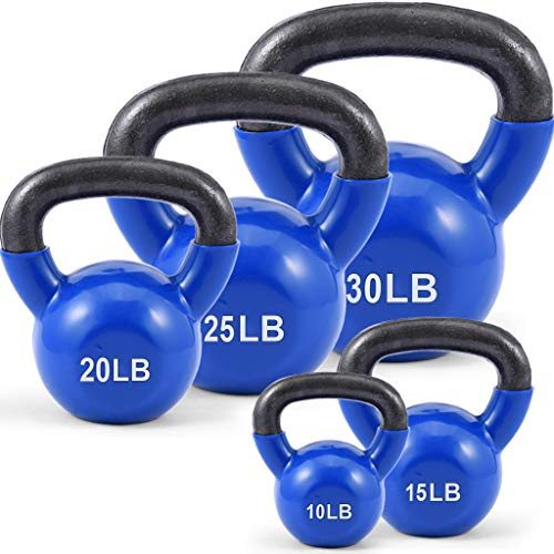 Kettlebell Weights Vinyl Coated Iron, Solid Iron Kettlebells Vinyl Coated Kettlebells Exercise Kettlebell, Free Weights for Ballistic, Core, Weight Training, Kettlebell Weight Set for Home Gyms (15)