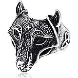 LH&BD Viking Wolf Head Celtic Knot Anillo Hombres Acero Inoxidable Anillo Tótem Anillo Norse Escandinavo Guerrero Amuleto,11