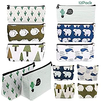 12Pcs Canvas Pencil Case AUHOKY Portable Pen Pencil Zipper Pouches Small Cosmetic Makeup Bag Coin Organizer School Stationery Holder - Forest & Animal Style  3 Sizes 6 Patterns