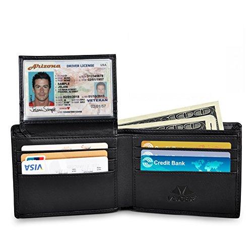 Vbiger Portafogli Nero Antifurto con Protezione RFID in Vera Pelle (Nero)