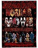 Personalized Horror Movie Watching Blanket , Custom Name Halloween Horror Movie Blanket Fleece Halloween Watching Blanket