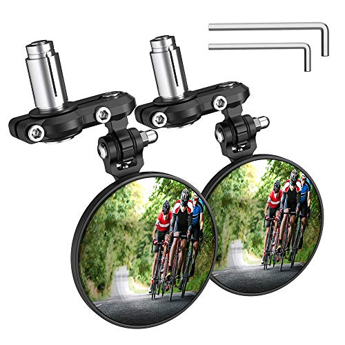 PACEARTH Bar End Bike Mirror Blast-Resistant Aluminum 360˚Rotatable Bicycle Rearview Mirror-2 Pack