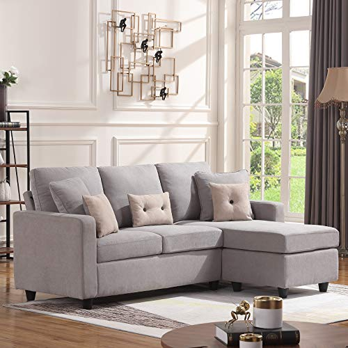 HONBAY Convertible Sectional Sofa Couch, L-Shaped Couch with Modern Linen Fabric for Small Space...