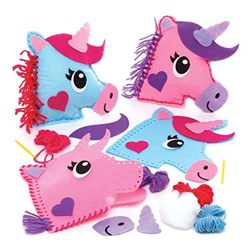 Baker Ross AW623 - Kits de costura de cojines de unicornio (Pack de 2), Actividad de manualidades infantiles con piezas de fieltro para coser, Multicolor