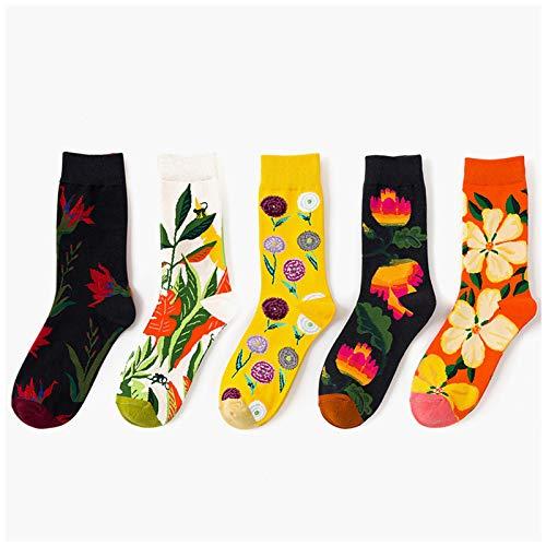 QMMD Pack de 5 Calcetines Estampados Hombres Mujer, Termicos Invierno Divertidos Calcetín de Algodón Unisex, Calcetines de Fantasía Coloridos Algodón Extraño, Talla 35-43,D‐5 Pair