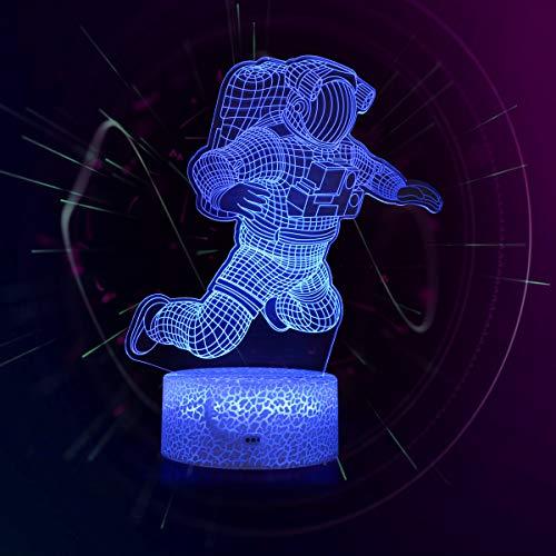 Koyya 3D Astronauta luz nocturna – Lámpara de ilusión LED 3D de tres patrones y 16 colores cambian la lámpara de decoración con mando a distancia para niños, regalos de astronauta para niños......