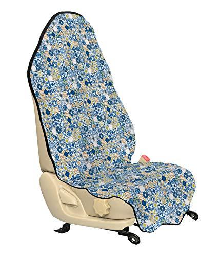 ABAKUHAUS Yellow and Blue Beschermhoes voor autostoelen, Mosaic Azulejo, met Antislip Achterkant, Universele Maat, 75 x 145 cm, Violet Blue Mosterd
