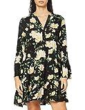Only ONLFAYE L/S Short Dress WVN Vestido, Black/AOP: Electric Flower/Cloud Dancer, L para Mujer