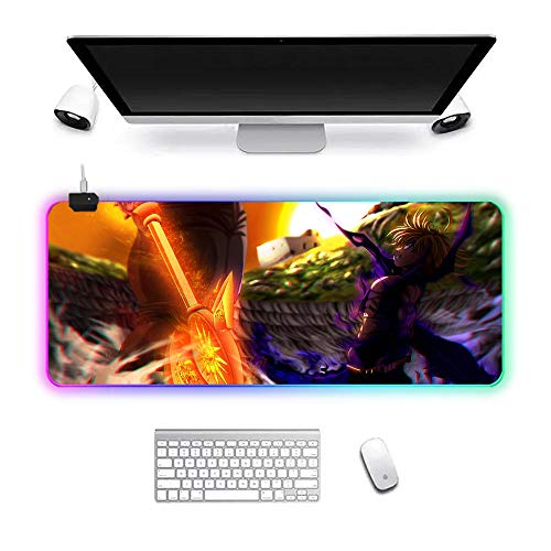 RGB Gaming Mouse Pad XL LED Lock Edge Mouse mat Stitched Edge Table mat Waterproof Anime Seven Deadly Sins 900x400x3mm