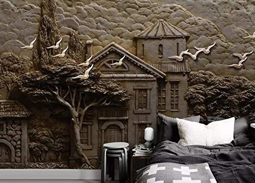 Tapete 3D Wandbild Entlastungswaldhütte-Großer Baum-Fliegen-Vogel Fototapete 3D Effekt Vliestapete Wohnzimmer Wanddeko