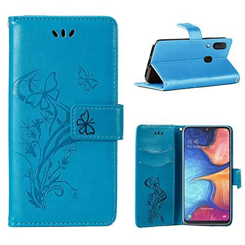 BOWFU para Samsung Galaxy A20e Funda,Gofrado Mariposa [PU Cover+TPU Parachoques][Suave Billetera][Cierre Magnético] Durable&Elegante Protectora Case para Samsung Galaxy A20e-Azul