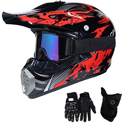 Motocross Casco Rojo bril,Caballeros Casco de la Cruz Con Gafas Enmascarar Guantes...