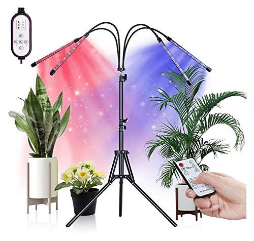 Cultivez des Lumières pour Les Plantes D'intérieur Ampoule LED À 4 Têtes De 80W avec Télécommande Support De Trépied À Spectre Complet Réglable 3 Modes 9 Niveaux