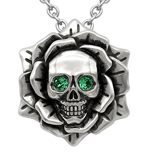 Skull Rose Birthstone Necklace with Swarovski Crystal 17' - 19' Adjustable Chain (05-May – Green)