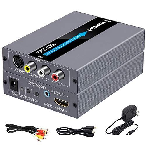 EASYCEL RCA S-Video auf HDMI Konverter, RCA Composite CVBS AV oder S-Video + R/L Audio Eingang zu HDMI Ausgang Upscale Konverter, Unterstützt 720P / 1080P Ausgangsschalter für N64, PS2, Wii, DVD