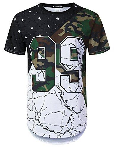 URBANTOPS Mens Hipster Hip Hop Variety Pattern Camo Longline T-Shirt White, L